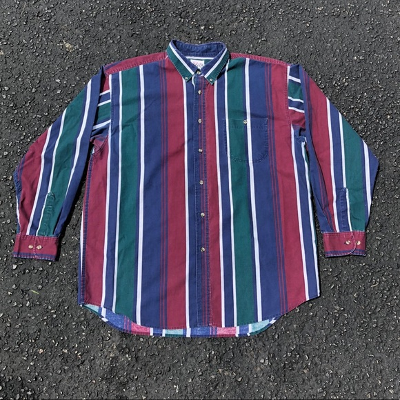 Size S  M Striped Blouse Vintage 1980s 1990s Short Sleeves Stripes Boxy Button Down Shirt Square Collar